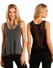 Rock & Roll Cowgirl Women's Sleeveless Lace Tank Top - Black