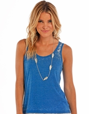 Rock & Roll Cowgirl Women's Sleeveless Lace Tank Top - Blue (Closeout)
