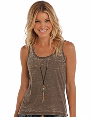 Rock & Roll Cowgirl Women's Sleeveless Lace Tank Top - Brown (Closeout)