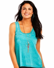 Rock & Roll Cowgirl Women's Sleeveless Lace Tank Top - Turquoise (Closeout)