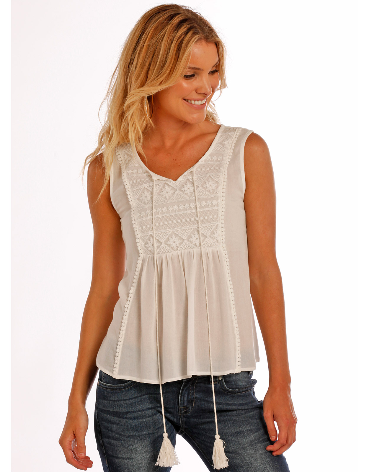 Rock & Roll Cowgirl Women's Sleeveless Lace Top - White