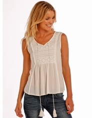 Rock & Roll Cowgirl Women's Sleeveless Lace Top - White (Closeout)