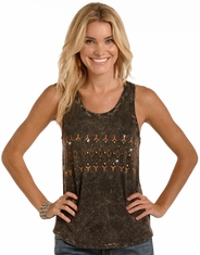Rock & Roll Cowgirl Women's Sleeveless Mineral Wash Tank Top - Black