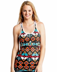 Rock & Roll Cowgirl Women's Sleeveless Print Racerback Tank Top - Black (Closeout)