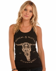 Rock & Roll Cowgirl Women's Sleeveless Print Tank Top - Black (Closeout)