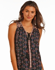 Rock & Roll Cowgirl Women's Sleeveless Print Tank Top - Blue (Closeout)