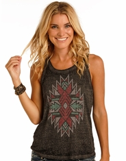 Rock & Roll Cowgirl Women's Sleeveless Print Tank Top - Grey