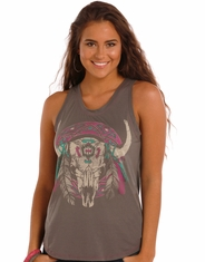 Rock & Roll Cowgirl Women's Sleeveless Print Tank Top - Grey (Closeout)