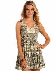 Rock & Roll Cowgirl Women's Sleeveless Short Print Dress - Natural (Closeout)