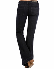 Rock & Roll Cowgirl Women's Trouser Fit Low Rise Boot Cut Jean - Dark Wash (Closeout)