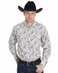 Rockmount Men's Long Sleeve Paisley Snap Shirt - Black (Closeout)