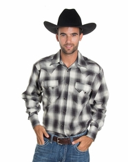 Rockmount Men's Long Sleeve Plaid Snap Shirt - Black (Closeout)