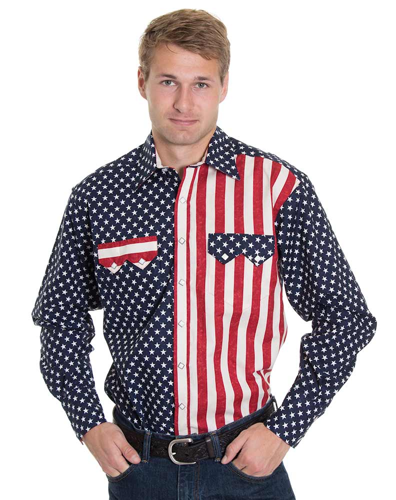 Rockmount Men's Long Sleeve Two Tone Snap Shirt - American Flag