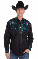 Rockmount Mens Long Sleeve Snap Western Shirt - Flower