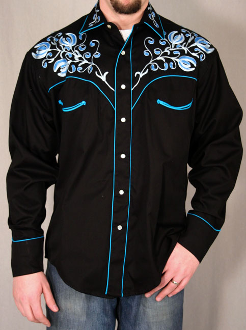 Rockmount Mens Black Western Snap Shirt Wblue Floral Embroidery