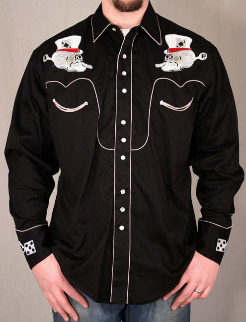 Rockmount Ranch Wear - Men's L/S Black Western Snap Shirt with Skull & Dice Embroidery (Closeout)
