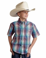 Roper Boy's Short Sleeve Button Down Shirt - Blue (Closeout)