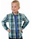 Roper Boy's Long Sleeve Plaid Button Down Shirt - Blue