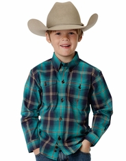 Roper Boy's Long Sleeve Plaid Button Down Shirt - Green (Closeout)