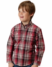 Roper Boy's Long Sleeve Plaid Button Down Shirt - Red (Closeout)