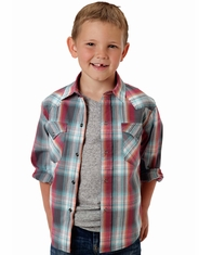 Roper Boy's Long Sleeve Plaid Snap Shirt - Grey (Closeout)