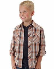 Roper Boy's Long Sleeve Plaid Snap Shirt - Orange