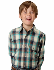 Roper Boy's Long Sleeve Plaid Snap Shirt - White (Closeout)