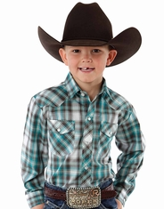 Roper Boy's Long Sleeve Plaid Western Snap Shirt - Blue