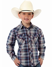 Roper Boy's Long Sleeve Plaid Western Snap Shirt - Blue (Closeout)