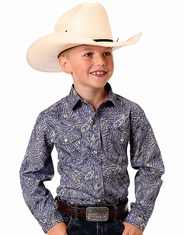 Roper Boy's Long Sleeve Print Western Snap Shirt - Purple (Closeout)