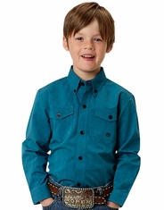 Roper Boy's Long Sleeve Solid Button Down Shirt - Teal