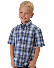 Roper Boy's Short Sleeve Plaid Button Down Shirt - Blue (Closeout)