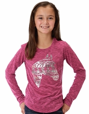 Roper Girl's Long Sleeve Metallic Horse Print Shirt - Pink (Closeout)