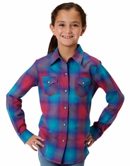 Roper Girl's Long Sleeve Plaid Snap Shirt - Blue (Closeout)
