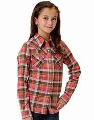 Roper Girl's Long Sleeve Plaid Snap Shirt - Red