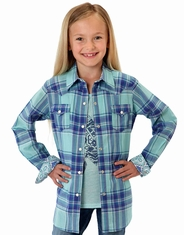 Roper Girl's Long Sleeve Plaid Western Snap Shirt - Blue
