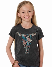 Roper Girl's Short Sleeve Print Tee Shirt - Grey (Closeout)