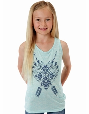 Roper Girl's Sleeveless Print Tank Top - Blue (Closeout)