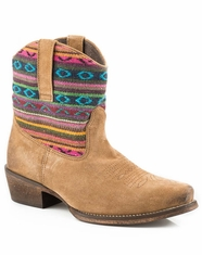 Roper Girls Aztec Shaft Shorty Snip Toe Boots - Tan Suede