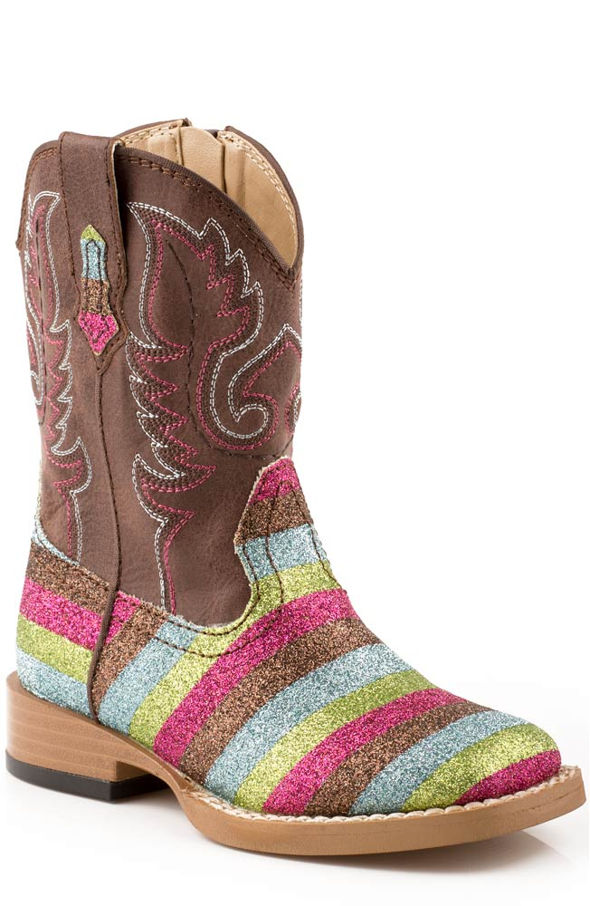 Roper Infant Girl's Square Glitter Cowboy Boots - Brown (Sizes 5-8)