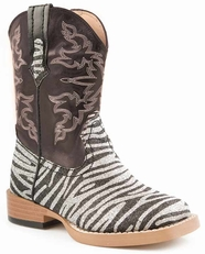 Roper Kid's Bling Zebra Square Toe Cowboy Boots - Black