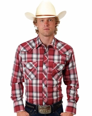 Roper Men's Long Sleeve Embroidered Plaid Snap Shirt - Red