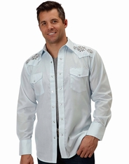Roper Men's Long Sleeve Embroidered Western Snap Shirt - Blue