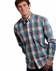 Roper Men's Long Sleeve Plaid Button Down Shirt - Blue (Closeout)