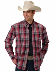 Roper Men's Long Sleeve Plaid Button Down Shirt - Red (Closeout)