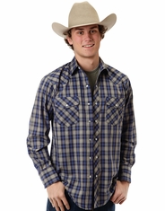 Roper Men's Long Sleeve Plaid Snap Shirt - Grey (Closeout)