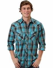 Roper Men's Long Sleeve Plaid Snap Shirt - Turquoise