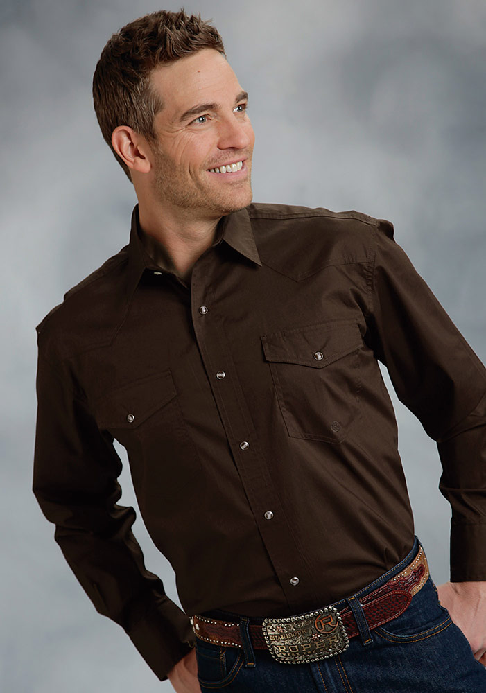Men's Long Sleeve Solid Western Snap Shirt - Brown