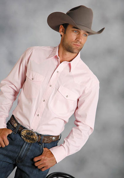 Men's Long Sleeve Solid Western Snap Shirt - Pink