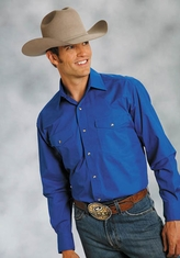 Roper Men's Long Sleeve Solid Western Snap Shirt - Royal